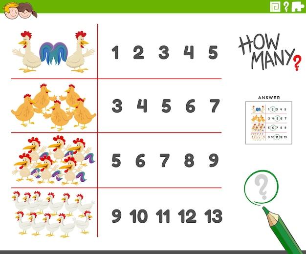 Atividade de contagem com personagens de desenho animado de galinhas de fazenda