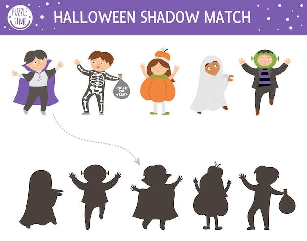 Atividade de correspondência de sombras de halloween para crianças. quebra-cabeça de outono com crianças vestidas com fantasias assustadoras. jogo educativo com vampiro, fantasma, bruxa. encontre a planilha de impressão de silhueta correta.