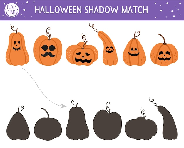 Atividade de correspondência de sombras de halloween para crianças. quebra-cabeça de outono com jack-o-lanterns. jogo educativo para crianças com abóboras assustadoras. encontre a planilha de impressão de silhueta correta.