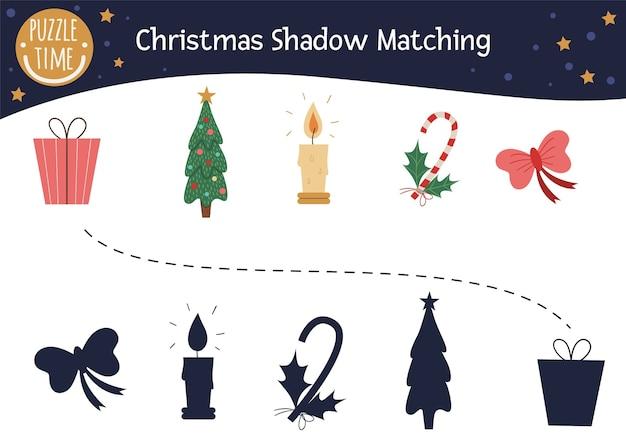 Atividade de correspondência de sombras de natal para crianças.