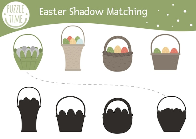 Atividade de correspondência de sombras de páscoa para crianças com cesta e ovos coloridos.