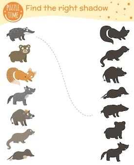 Atividade de correspondência de sombras para crianças com animais da floresta.