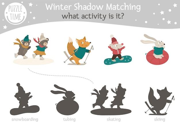 Atividade de correspondência de sombras para crianças com animais que praticam esportes de inverno.