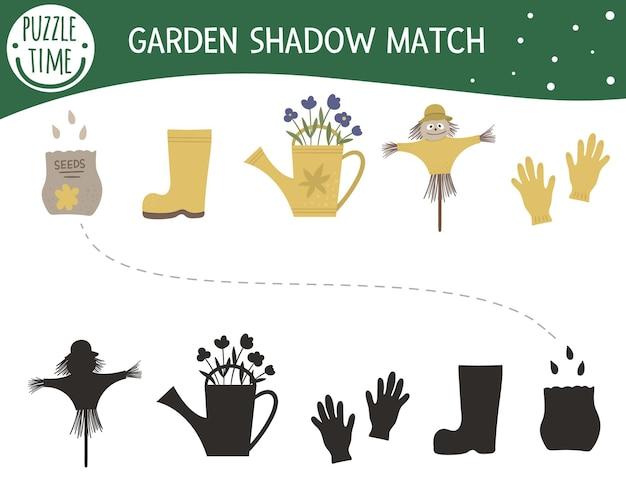 Atividade de correspondência de sombras para crianças com símbolos de jardim