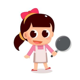 Atividade de criança: uma menina sorridente com um avental segurando uma panela prepare a cozinha
