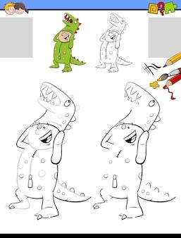 Atividade de desenho e coloração de desenhos animados com o menino fantasiado de dinossauro