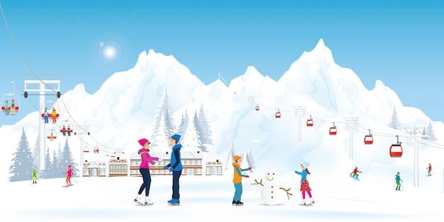 Atividade de esporte de recreação de férias de inverno.