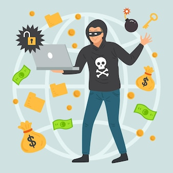 Atividade de hacker com homem roubando