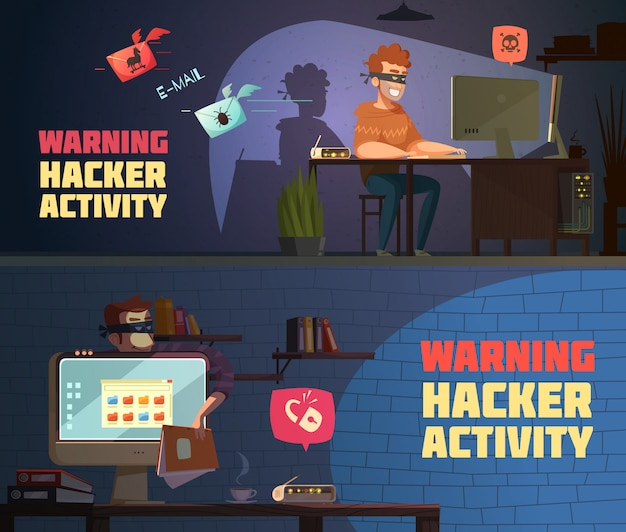 Atividade de hacker de aviso 2 banners horizontais de cartoon retrô