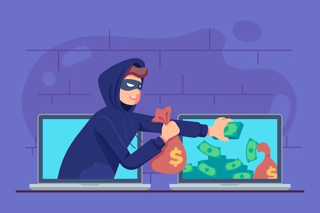 Atividade de hacker de ilustração design plano