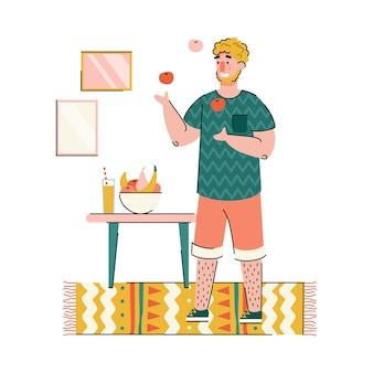 Atividade de hobby favorita e passar o tempo em casa banner com o treinamento do personagem de desenho animado do homem para fazer malabarismos