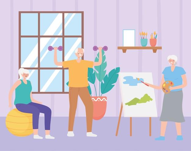 Atividade de idosos, pessoas maduras na sala praticando exercícios e pintura em tela de ilustração