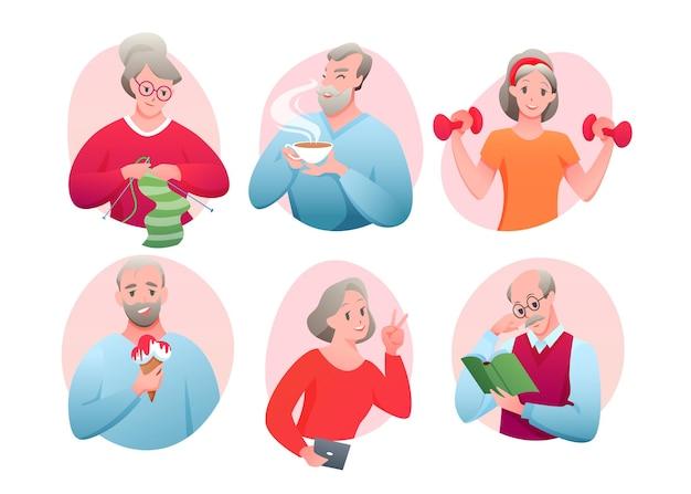 Atividade de idosos, tricô, networking, tomando sorvete, bebendo chá, lendo um livro