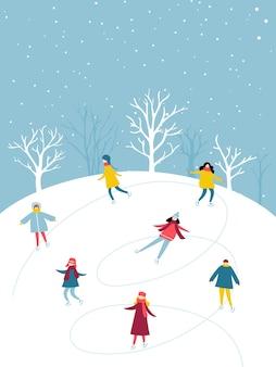 Atividade de inverno, o grupo de pessoas está patinando na pista de gelo ao ar livre. ilustração plana de diversão de férias.