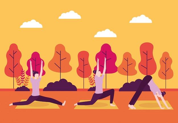 Atividade de ioga de pessoas