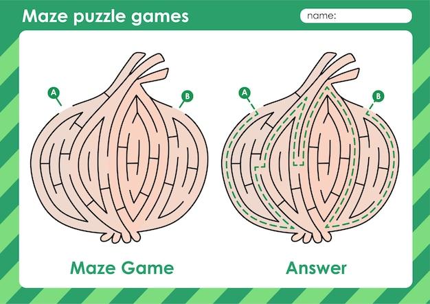 Atividade de jogos de quebra-cabeça de labirinto para crianças com cebola de imagens de frutas
