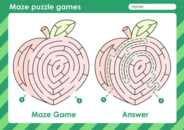 Atividade de jogos de quebra-cabeça de labirinto para crianças com imagens de frutas pêssego