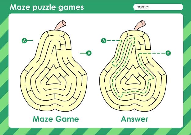 Atividade de jogos de quebra-cabeça de labirinto para crianças com pêra de frutas