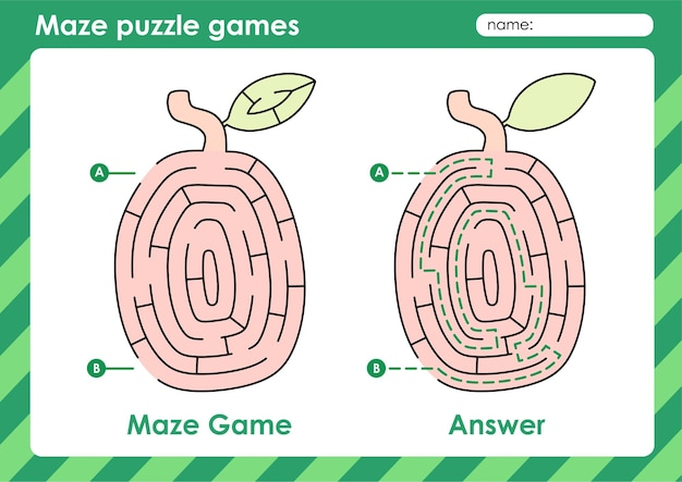 Atividade de jogos de quebra-cabeça de labirinto para crianças com ximenia