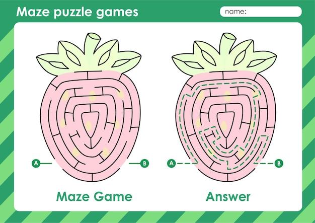 Atividade de jogos de quebra-cabeça labirinto para crianças com frutas imagem morango
