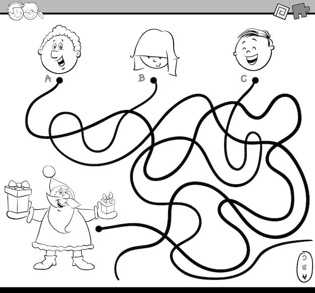 Atividade de labirinto de trajeto colorir página