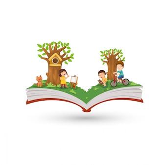 Atividade de livro aberto no parque