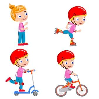 Atividade de menina correndo patinação equitação bicicleta vector