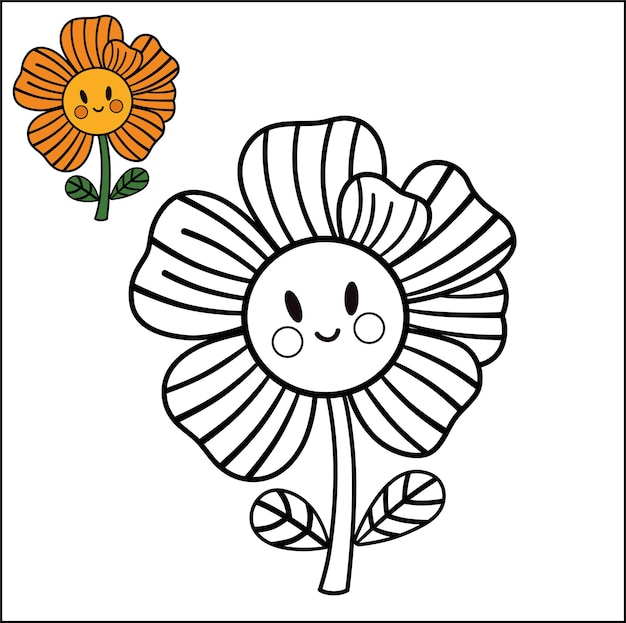Atividade de página para colorir com ilustração vetorial de flores para crianças