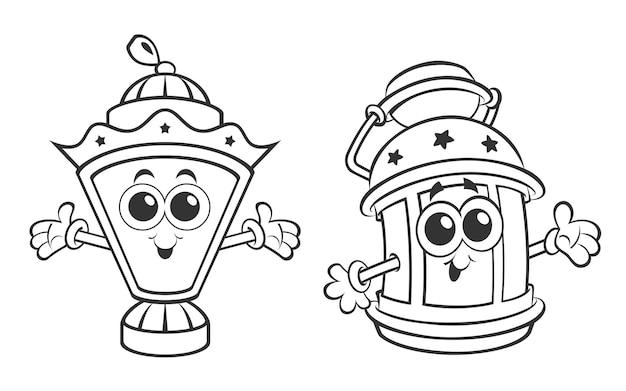 Atividade de página para colorir de lanternas de desenhos animados do ramadã para crianças ilustração vetorial