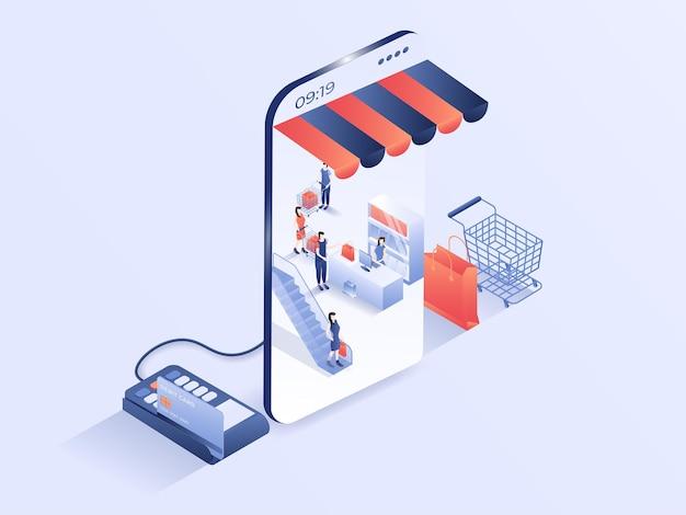 Atividade de pessoas de compras on-line em design de smartphone moderno ilustração em vetor isométrico 3d