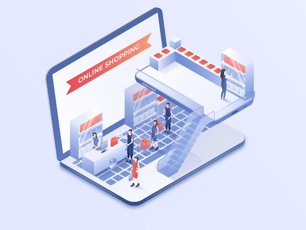 Atividade de pessoas modernas de compras on-line em design de laptop ilustração em vetor isométrico 3d