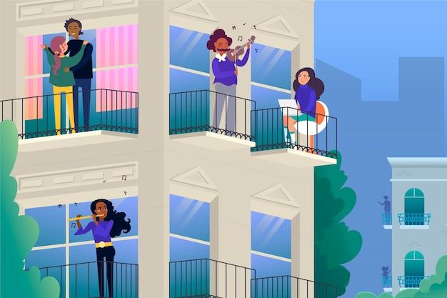 Atividade de pessoas no design da varanda