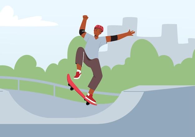 Atividade de skate ao ar livre. jovem com roupas de moda moderna e capacete de segurança pulando no skate