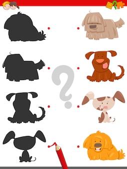 Atividade de sombra com cães de desenho animado