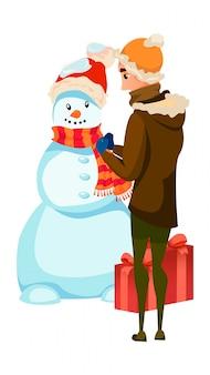 Atividade de temporada de inverno. homem dos desenhos animados construir boneco de neve