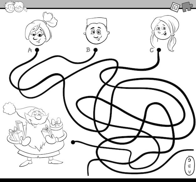 Atividade do labirinto do caminho para colorir