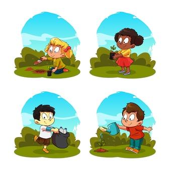 Atividade dos desenhos animados de crianças plantando e cuidando de plantas