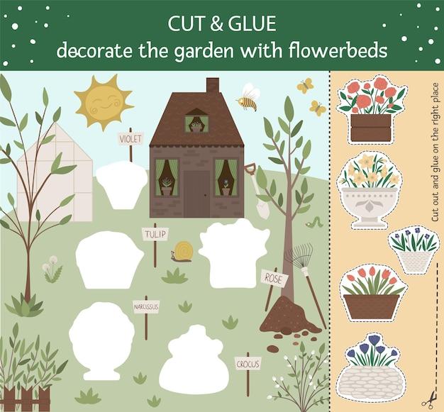 Atividade educacional de primavera com plantas e flores