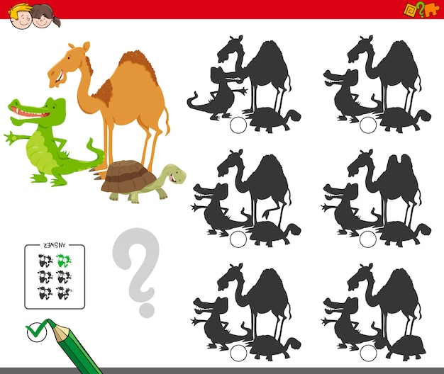 Atividade educativa de sombra para crianças com animais