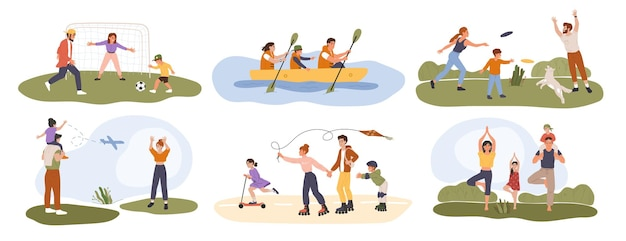 Atividade em família pais felizes praticam esportes com seus filhos atividades saudáveis ao ar livre
