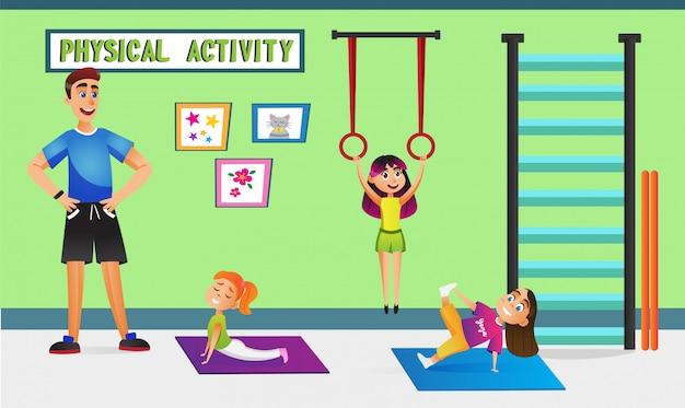 Atividade física, crianças com professor no ginásio.