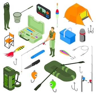 Atividade isométrica de pesca definir ilustração. pescador em botas de ladrão com vara de peixe isolado