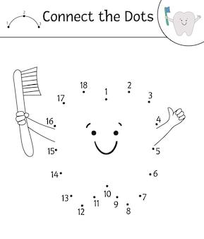 Atividade ponto a ponto vetorial com dente bonito kawaii segurando a escova de dentes. ligue o jogo dos pontos. personagem engraçada de cuidados com os dentes. clipart de contorno temático dental para crianças. página para colorir de higiene bucal
