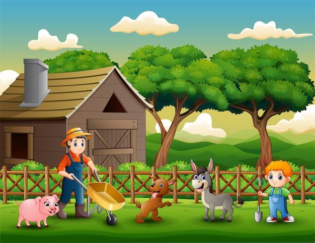 Atividades agrícolas em fazendas com animais