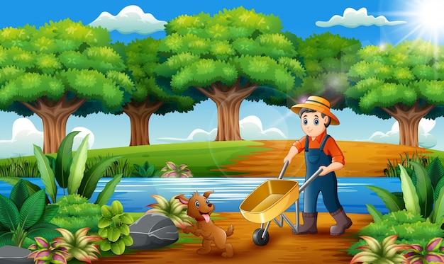 Atividades agrícolas no parque com animais