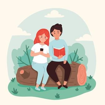 Atividades ao ar livre com leitura