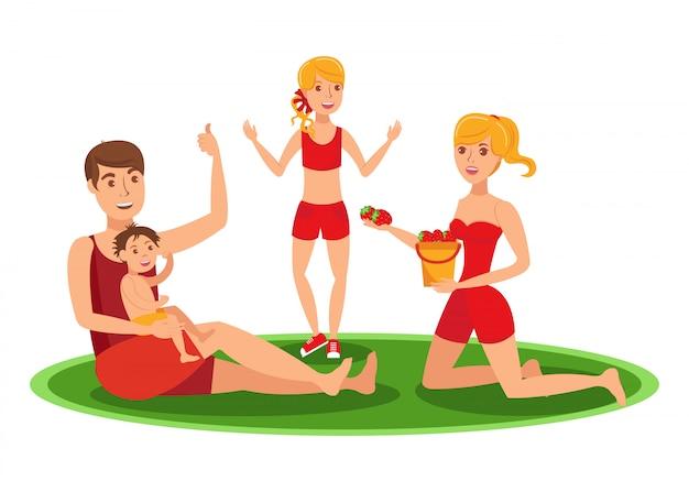 Atividades ao ar livre da família de verão