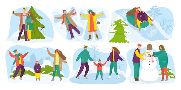 Atividades ao ar livre de inverno, feriados da temporada de neve, conjunto de férias. crianças fazendo boneco de neve, diversão de inverno ao ar livre em dia de neve, trenó, decoração de árvore do abeto para o natal.