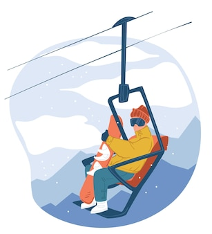 Atividades ao ar livre de inverno nas montanhas. personagem com snowboard sentado no teleférico, férias turísticas e estilo de vida. descendo ladeiras e morros, praticando snowboard. vetor em estilo simples
