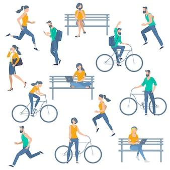 Atividades ao ar livre de jovem homem recuperadas correndo, andando de bicicleta, sentado, conversando, lendo no parque, no banco